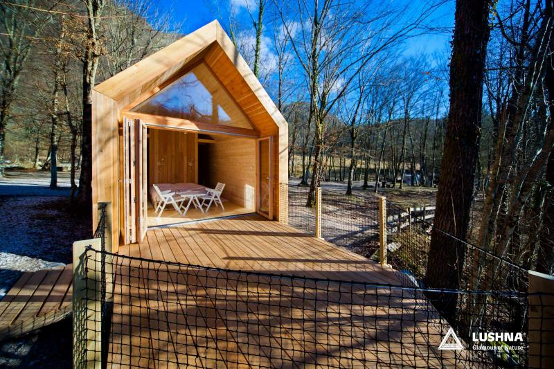 Lushna Suite glass glamping chalet cabin wood
