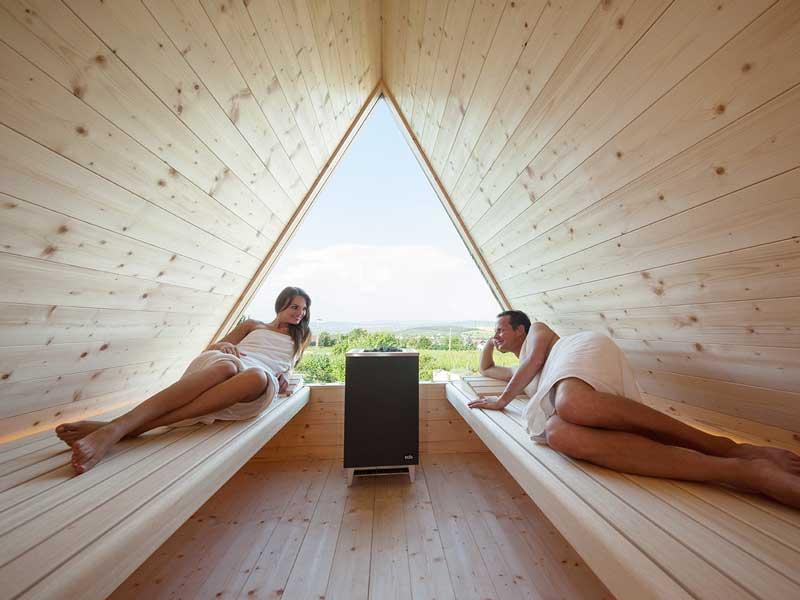 Sauna  sauna con vistas a Budapest